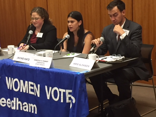 State Senate Candidates Becca Rausch, Jackie Katz, and Kris Aleksov (l-r)