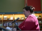 Tyra Masters-Heinrich reading at Voices launch, May 6, 2018