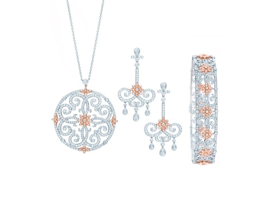 Tiffany Enchant Scroll Pendant Earrings and Bangle