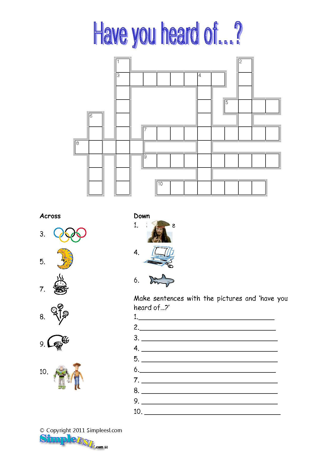 Printable Crossword Puzzle For Esl Students