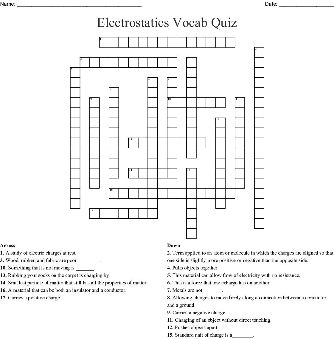 Printable Vocabulary Quiz Crossword Puzzle