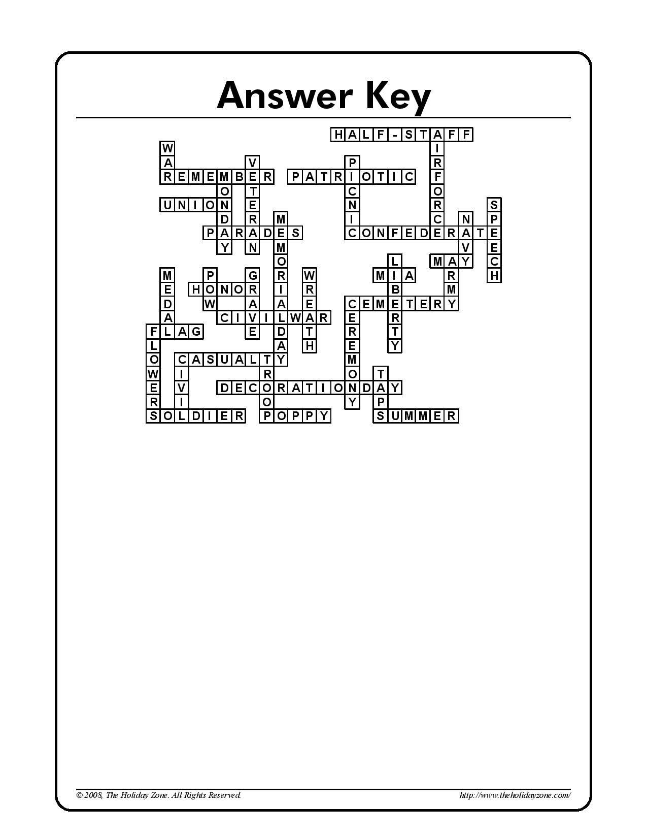 Memorial Day Crossword Puzzle Printable