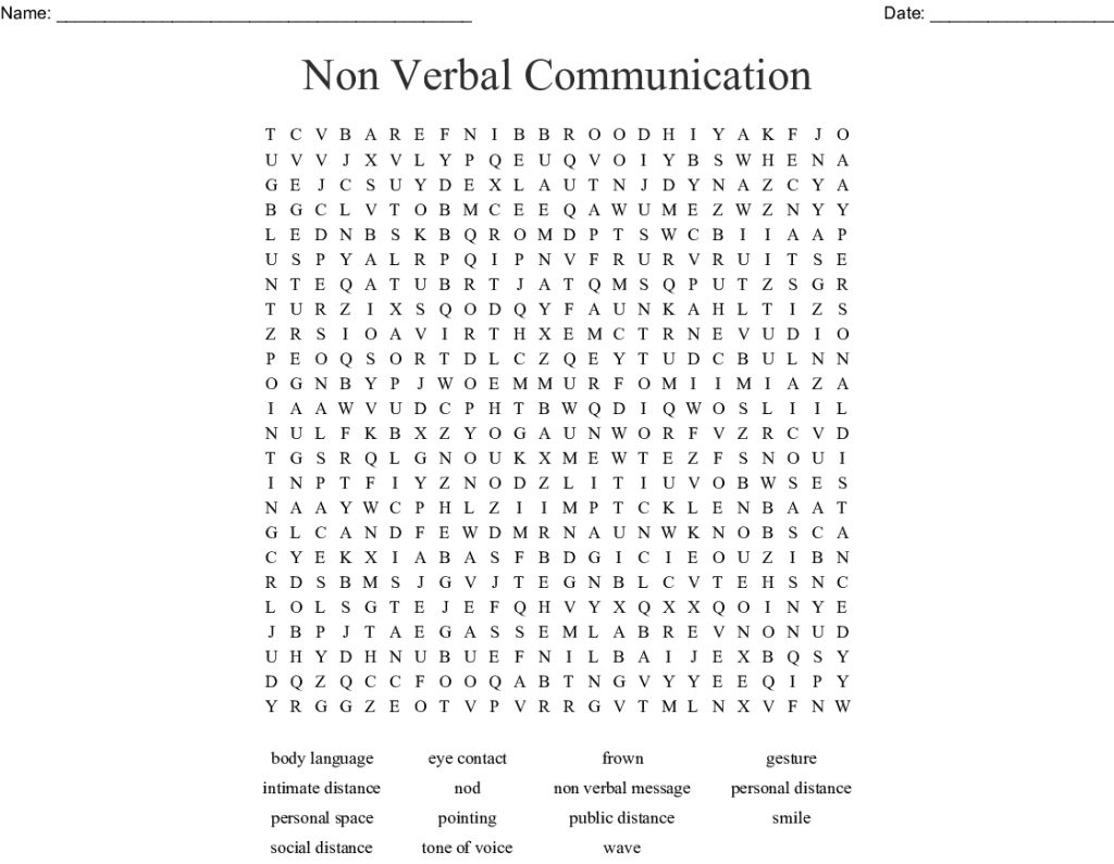 Non Verbal Communication Word Search