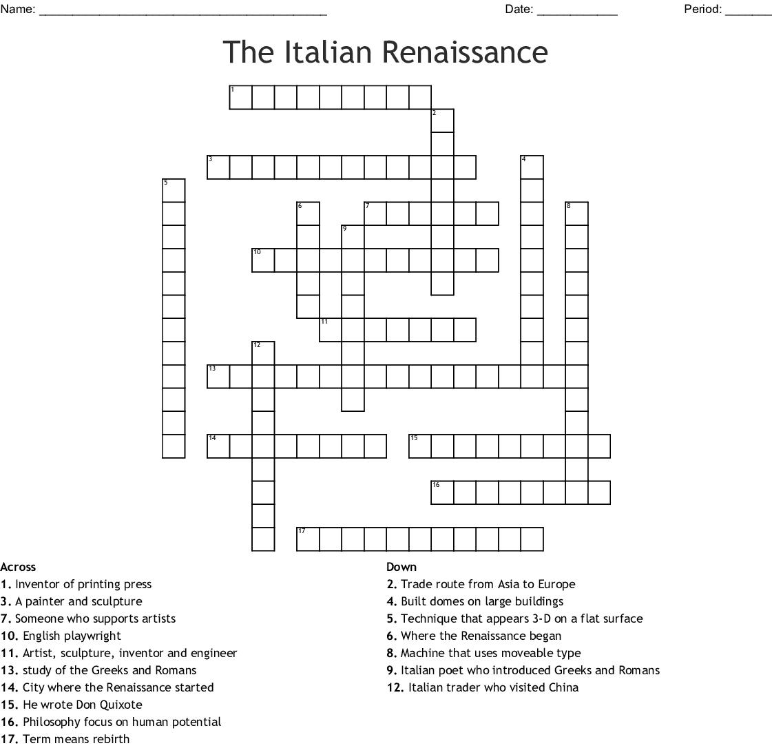 Italian Food Crossword