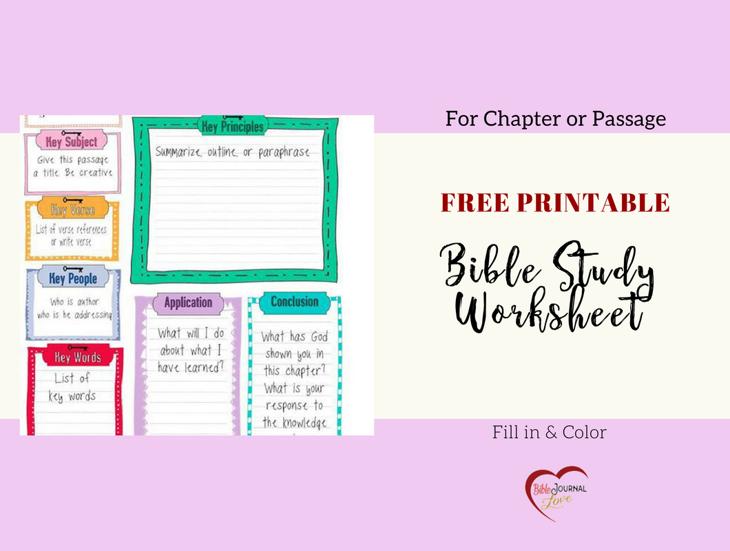 Printable Bible Study Worksheets For Adults Printable