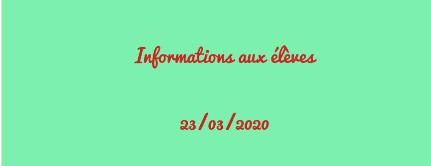 Information pour nos élèves