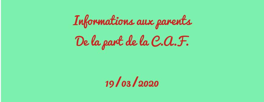 Information de la CAF destinée au parents