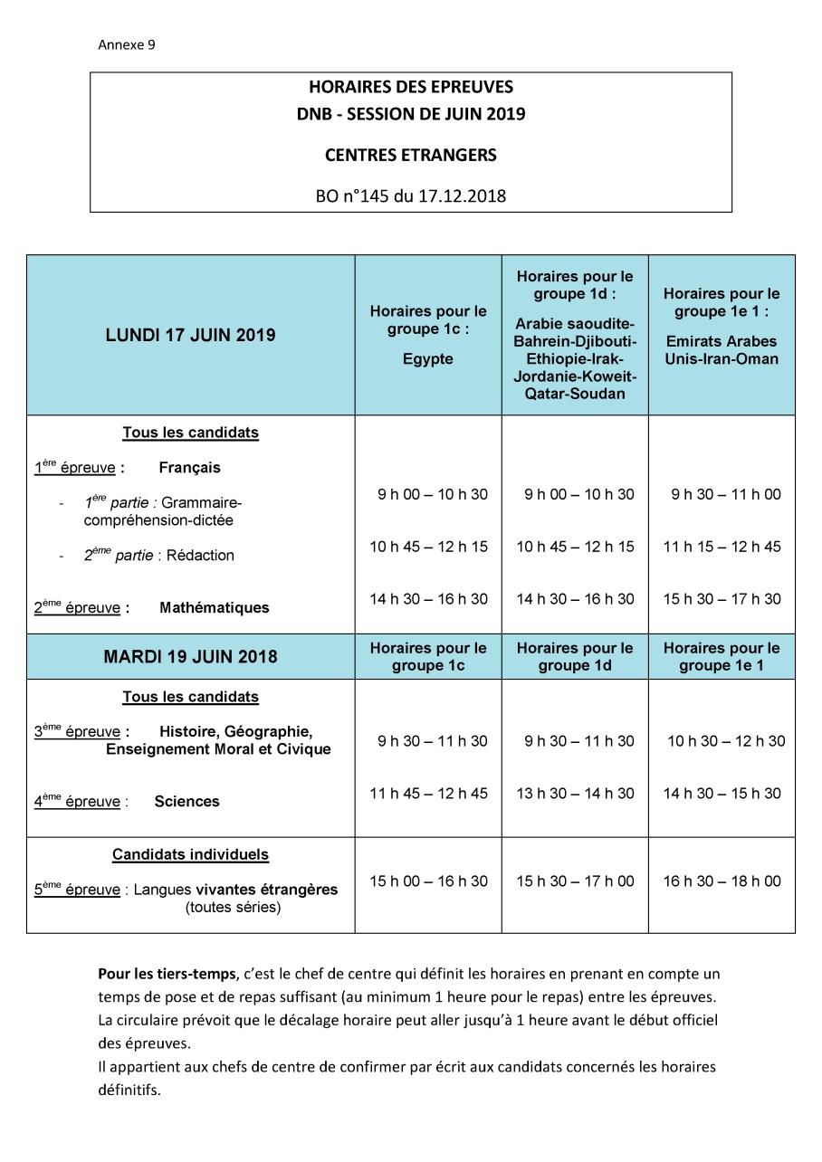 Annexe 8- Calendrier et horaires des épreuves DNB 2018