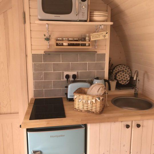 Prosecco glamping cabin kitchen