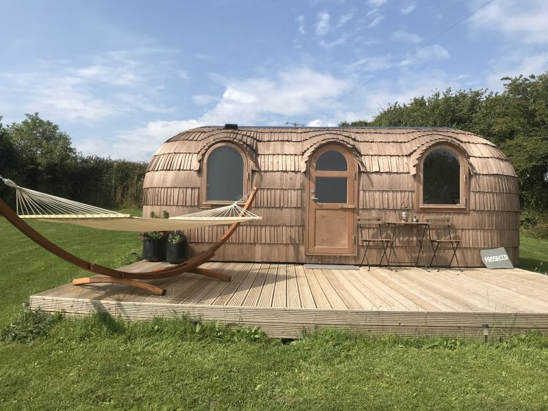 Prosecco cabin Lydcott Glamping Cornwall