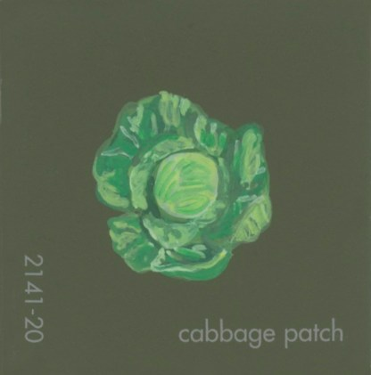 """""""Cabbage Patch,"""" acrylic on commercial paint chip, 3.5 x 3in, 2017"""