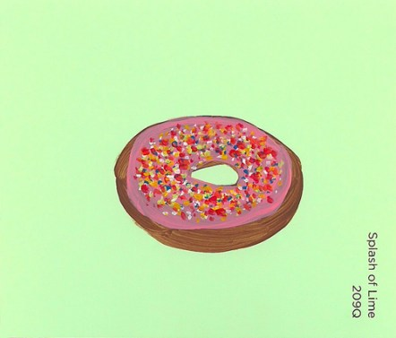 """""""Splash of Lime (Donut),"""" acrylic on commercial paint chip, 3 x 3.5in, 2015"""