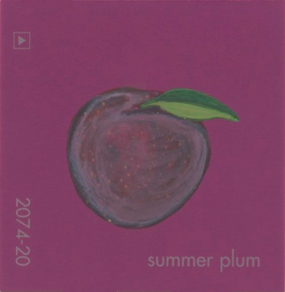"""""""Summer Plum,"""" acrylic on commercial paint chip, 2.5 x 2.5in, 2017"""