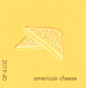 """""""American Cheese,"""" acrylic on commercial paint chip, 2.5 x 2.5in, 2016"""
