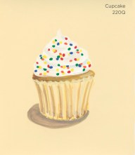 """""""Cupcake,"""" acrylic on commercial paint chip, 3.5 x 3in, 2016"""
