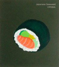 """""""Japanese Seaweed,"""" acrylic on commercial paint chip, 3.5 x 3in, 2016"""