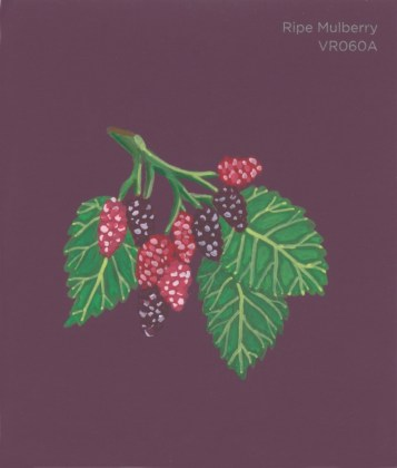 """""""Ripe Mulberry,"""" acrylic on commercial paint chip, 3.5 x 3in, 2016"""