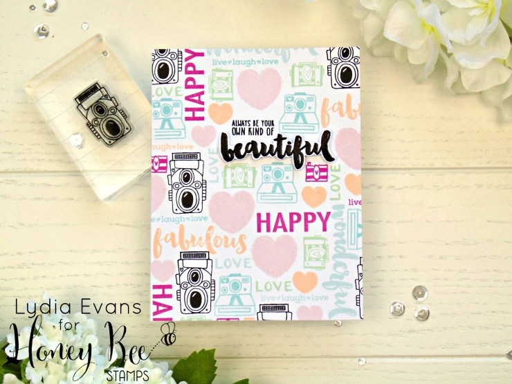Lydia Evans- Fun stamped background Honey Bee Stamps_1