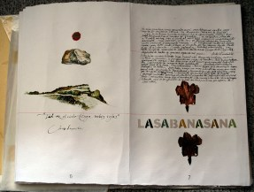 Travel journal with maps, quotes, drawings about the landscape of the sabana. 50 cm x 500 cm handmade accordion book