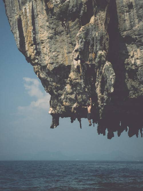 Deep water solo Krabi Thailand Rockclimbing