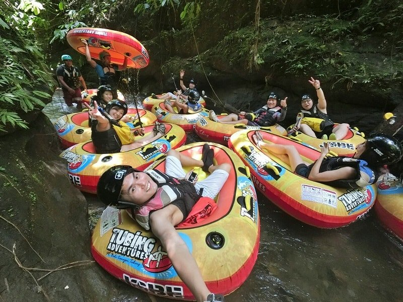 Bali Indonesia Group shot at rest point along our canyoning river ride