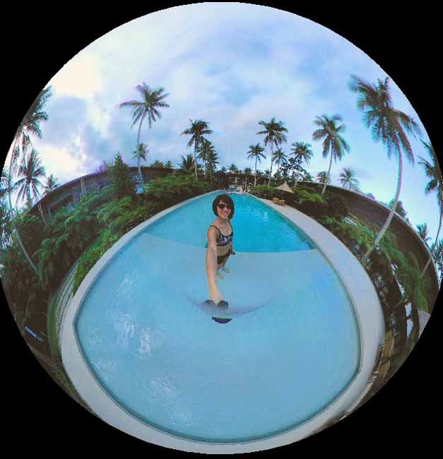 360 shot of the pool at Siama Hotel