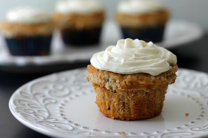 Hummingbird Cupcakes with Whipped Cream Cheese Frosting