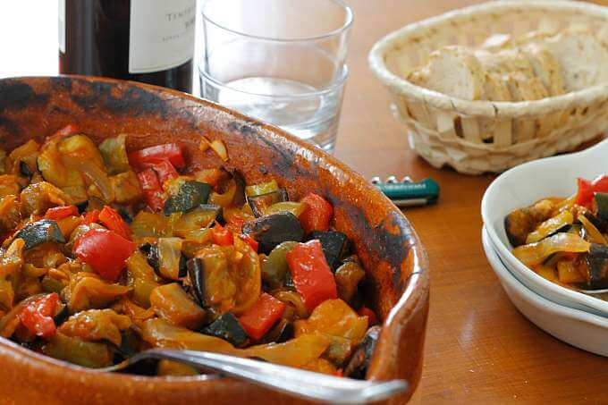 Pisto de Berenjena {Roasted Eggplant and Summer Vegetables}