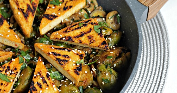 Brussels Sprouts and Tofu ~ Lydia's Flexitarian Kitchen