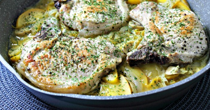 Pan Braised Pork Chops with Apples and Onions