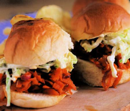 BBQ Carrot Sandwiches with Slaw ~ Lydia's Flexitarian Kitchen