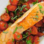 Salmon with Chorizo and Tomatoes ~ Lydia's Flexitarian Kitchen ~ photo of completed dish