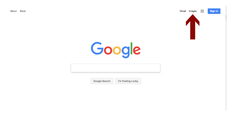 """image of a google search page with a red arrow pointing to the word """"Images"""" in the upper right corner"""