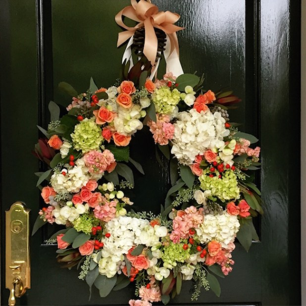 Beautiful Begonia, Hydrangea & Rose Wreath - so perfect for Spring!