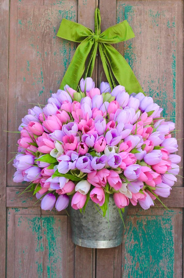 Tulips in Metal Planter Spring Wreath
