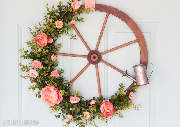 Farmhouse Wagon Wheel Wreath Door Decor