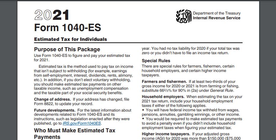 tax form 1040-ES