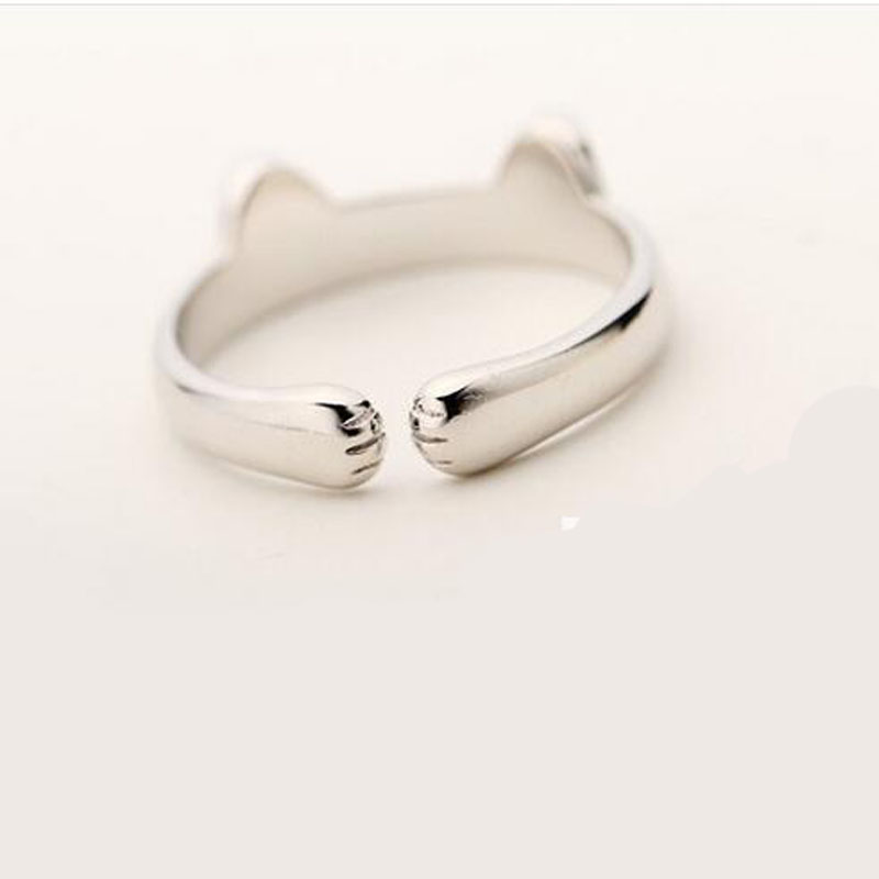 Silver Plated Cat Ear Ring Design Cute Fashion Jewelry Cat Ring ...