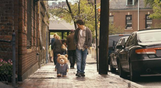 ted movie review -ted in suit and mark wahlberg