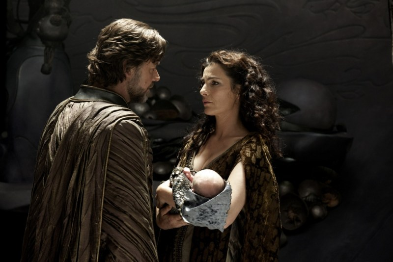 Clay Enos/Warner Bros. Pictures Russell Crowe as Jor-El and Ayelet Zurer as Lara Lor-Van with Kal-El