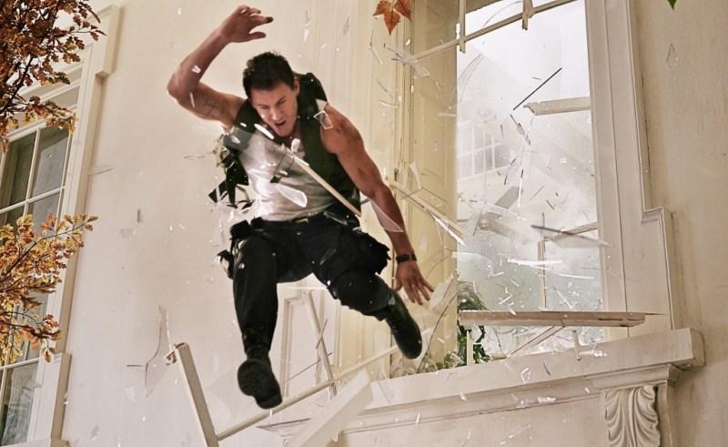 Reiner Bajo/Columbia Pictures Cale (Channing Tatum) crashing through.