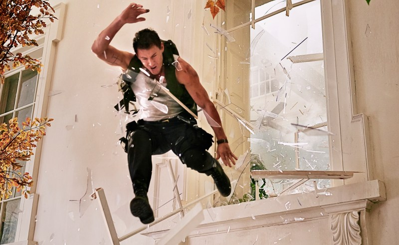 Reiner Bajo/Columbia Pictures Cale (Channing Tatum) crashing through.
