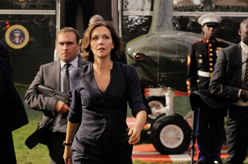 Reiner Bajo/Columbia Pictures Finnerty (Maggie Gyllenhaal) arrives.