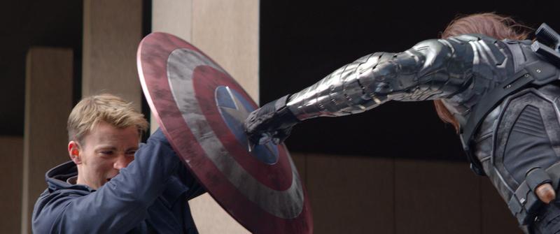 Marvel Captain America/Steve Rogers (Chris Evans) battles Winter Soldier (Sebastian Stan).