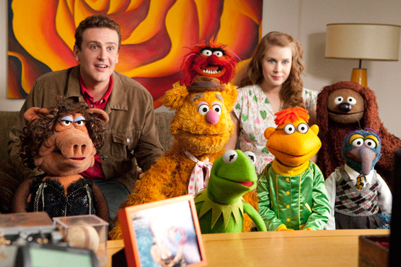 The Muppets 2011 - Jason Segel, Fozzie the Bear, Amy Adams, Kermith the Frog, Scooter, Rowlf and Gonzo