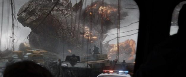 "Warner Bros. Pictures Godzilla travels by the bridge in ""Godzilla."""