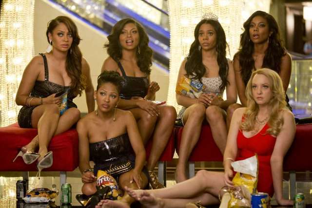 Matt Kennedy/Screen Gems Sonia (La La Anthony), Mya (Meagan Good), Lauren (Taraji P. Henson), Candace (Regina Hall), Kristen (Gabrielle Union) and Tish (Wendi McLendon-Covey) take a snack break in Planet Hollywood's lobby.