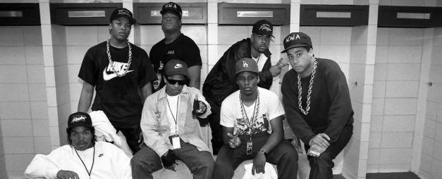 NWA full roster - Ice Cube, Eazy-E, Dr. Dre, MC Ren, DJ Yella, The DOC
