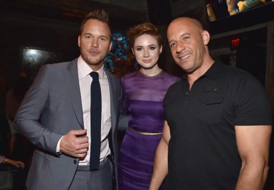 Alberto E. Rodriguez/Getty Images Chris Pratt, Karen Gillan and Vin Diesel