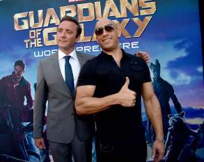 Alberto E. Rodriguez/Getty Images Peter Serafinowicz and Vin Diesel.